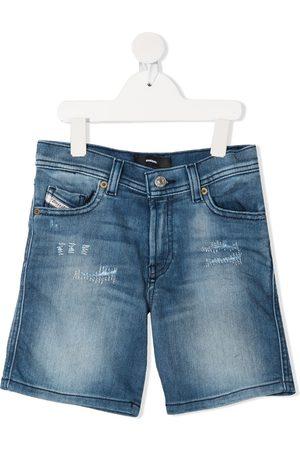 Diesel Boys Shorts - Stitch-detail denim shorts