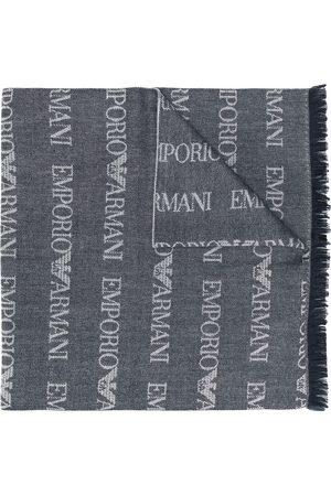 Emporio Armani Logo knit long scarf - Grey