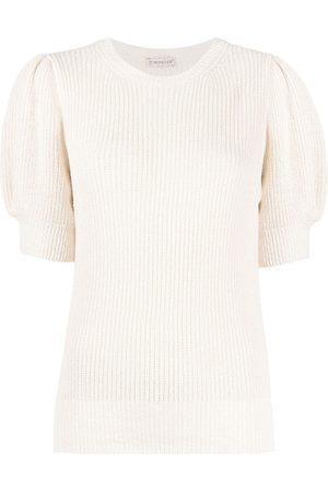 Moncler Ribbed knit puff-sleeve top - Neutrals