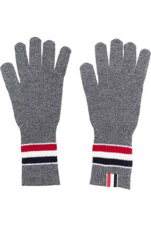Thom Browne Merino wool stripe rib gloves - Grey