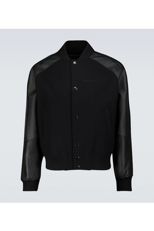 Givenchy Men Leather Jackets - Wool and leather bomber jacket