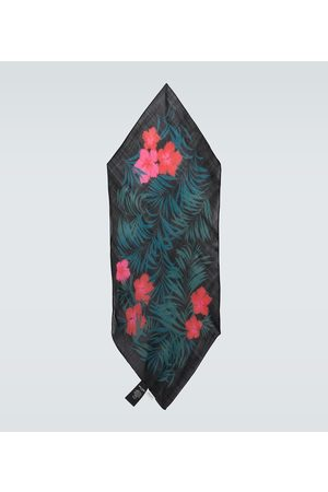 Saint Laurent Hibiscus printed wool scarf
