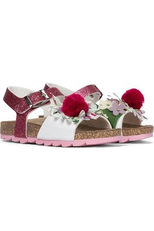 MONNALISA Floral glitter and leather sandals