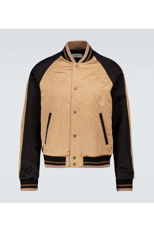 Saint Laurent Teddy varsity flammé satin jacket