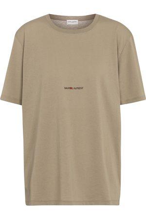 Saint Laurent Women Short Sleeve - Logo cotton T-shirt