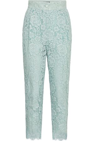 Dolce & Gabbana Women Straight Leg Pants - High-rise lace pants