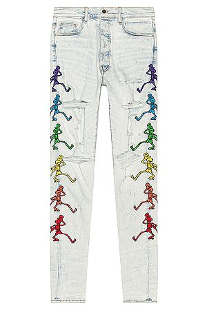 AMIRI Grateful Dead Embroidery Jean in Denim Light
