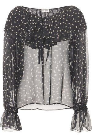 Saint Laurent Women Shirts - Polka Dot Print Silk Muslin Shirt W/ Bow
