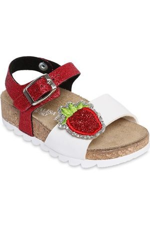 MONNALISA Girls Sandals - Faux Leather Sandals W/ Strawberry Patch