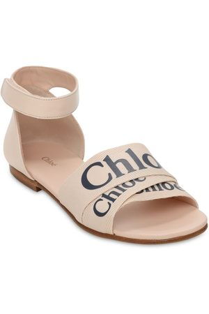 Chloé Girls Sandals - Logo Print Leather Sandals
