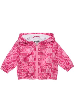Moschino Girls Jackets - All Over Print Hooded Nylon Jacket