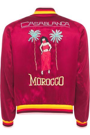 Casablanca Men Bomber Jackets - Embroidered Silk Satin Bomber Jacket