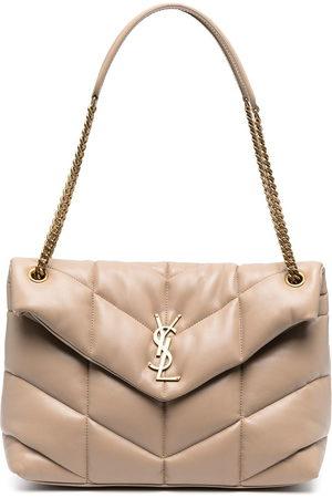 Saint Laurent Women Shoulder Bags - Loulou Puffer quilted shoulder bag - Neutrals