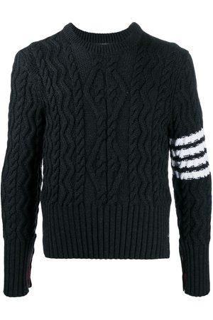 Thom Browne Men Sweatshirts - 4-Bar Aran cable knit jumper - Grey