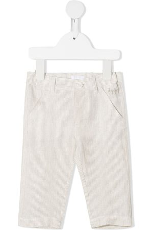 Il gufo Embroidered logo striped trousers - Neutrals