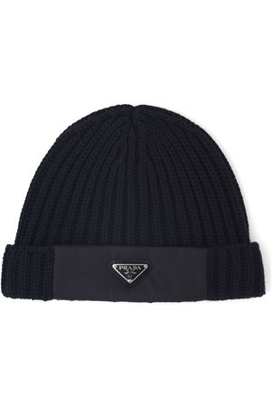 Prada Men Beanies - Logo rib-knit beanie hat