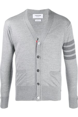Thom Browne Men Cardigans - Classic 4-Bar merino cardigan - Grey
