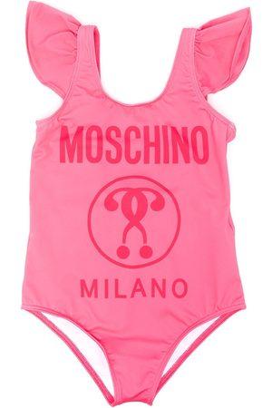 Moschino Ruffle logo print swimsuit