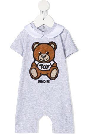 Moschino Teddy Bear embroidery short-sleeved romper - Grey
