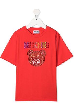 Moschino Girls T-shirts - Rhinestone-logo round neck T-shirt