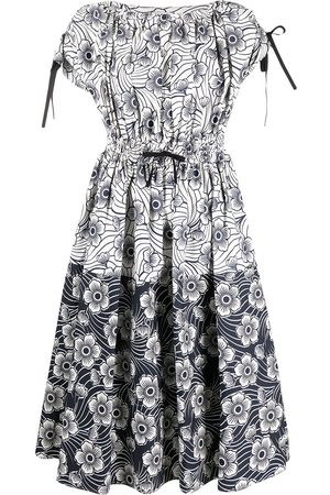 Moncler Floral-print panelled dress - Grey
