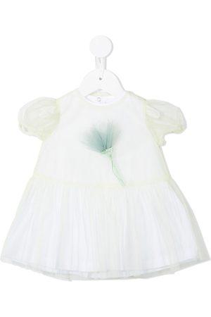 Il Gufo Baby Printed Dresses - Floral-appliquée short-sleeve dress