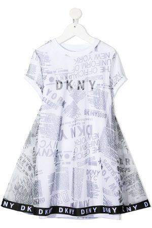 DKNY Girls Printed Dresses - Graphic-print overlay dress
