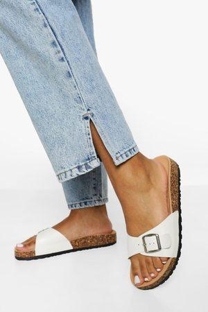 Boohoo Womens Buckle Footbed Slider - - 5