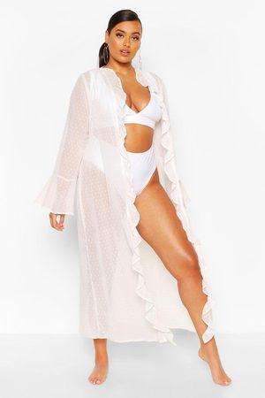 Boohoo Womens Plus Dobby Beach Ruffle Kimono - - 12