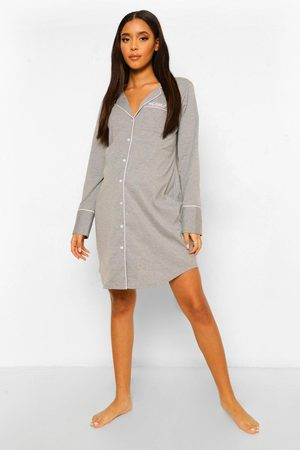 Boohoo Womens Maternity Jersey Button Embroidered Nightgown - - 10