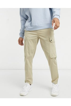 Topman Tapered cargo pants in stone