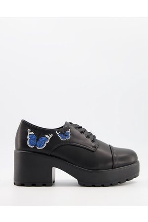 Koi Footwear Vegan heeled shoes with blue butterfly in