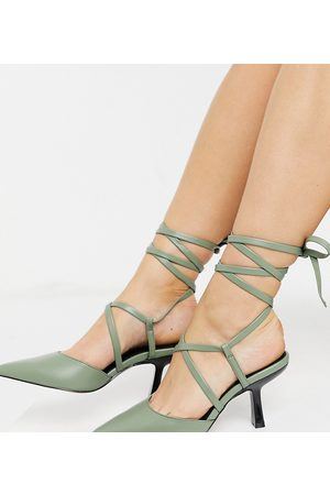 ASOS Wide Fit Sahara tie leg mid heels in