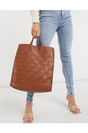 Claudia Canova Weave tote bag in tan