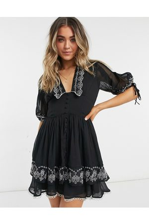 ASOS Embroidered collar mini dress with tie sleeve in