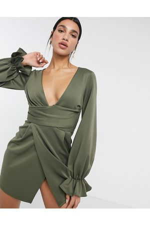 ASOS Wrap plunge mini dress with flute sleeve in khaki