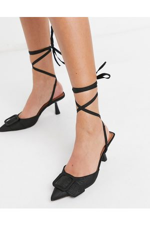ASOS Shelby buckle feature tie leg mid heels in