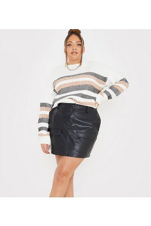 In The Style X Megan Mckenna pu utility a line mini skirt in