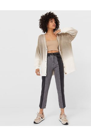 Stradivarius Straight leg patchwork jeans with raw hem in