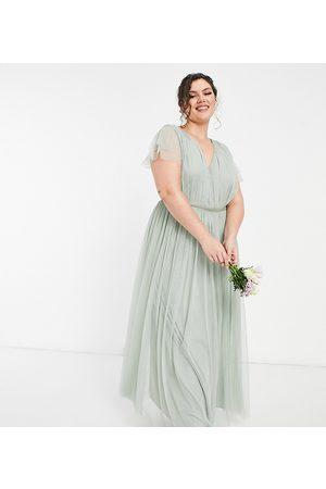ANAYA Anaya With Love Plus Bridesmaid tulle cap sleeve maxi dress in sage