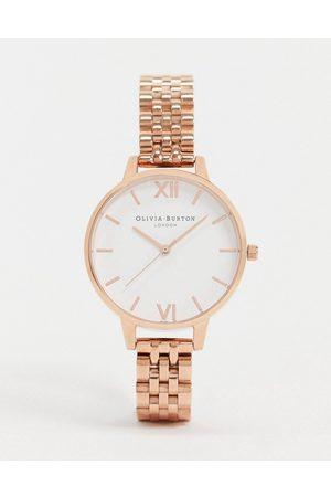 Olivia Burton OB16DEW01 White Demi Dial Bracelet Watch In Rose