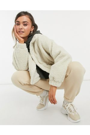 ASOS Fleece cropped jacket in camel-Stone