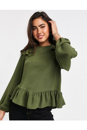 ASOS Long sleeve blouse with ruffle detail in olive-No color