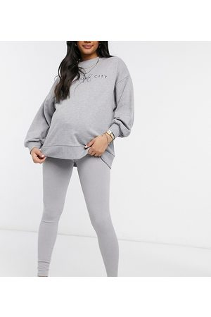 Pieces Maternity Lounge leggings with high waist in -Grey