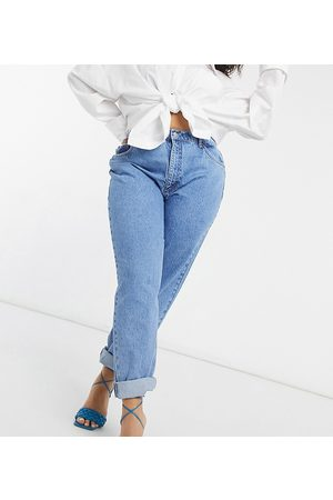 ASOS ASOS DESIGN Curve high rise 'slouchy' mom jeans in brightwash-Blues