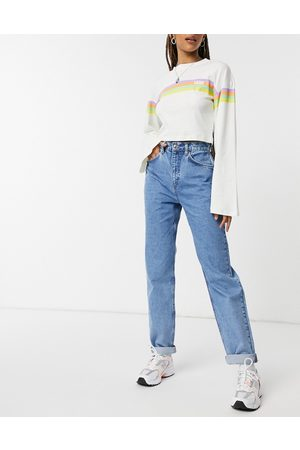 ASOS High rise 'slouchy' mom jeans in brightwash-Blues