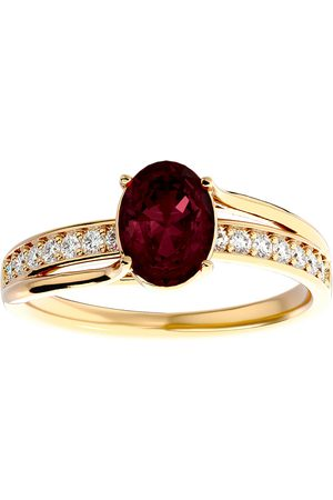 SuperJeweler 1 3/4 Carat Oval Shape Garnet & 14 Diamond Ring in 14K (3.50 g)
