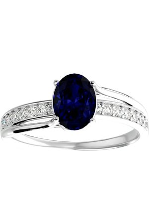 SuperJeweler 1 3/4 Carat Oval Shape Sapphire & 14 Diamond Ring in 14K (3.50 g)