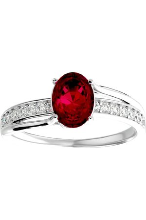 SuperJeweler 1 3/4 Carat Oval Shape Ruby & 14 Diamond Ring in 14K (3.50 g)