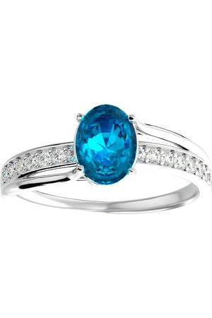 SuperJeweler 1 3/4 Carat Oval Shape Blue Topaz & 14 Diamond Ring in 14K (3.50 g)